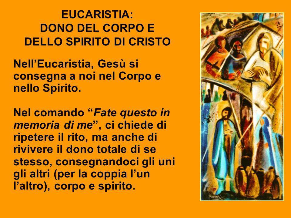 EUCARISTIA: DONO DEL CORPO E DELLO SPIRITO DI CRISTO NellEucaristia, Gesù si consegna a noi nel Corpo e nello Spirito. Nel comando Fate questo in memo