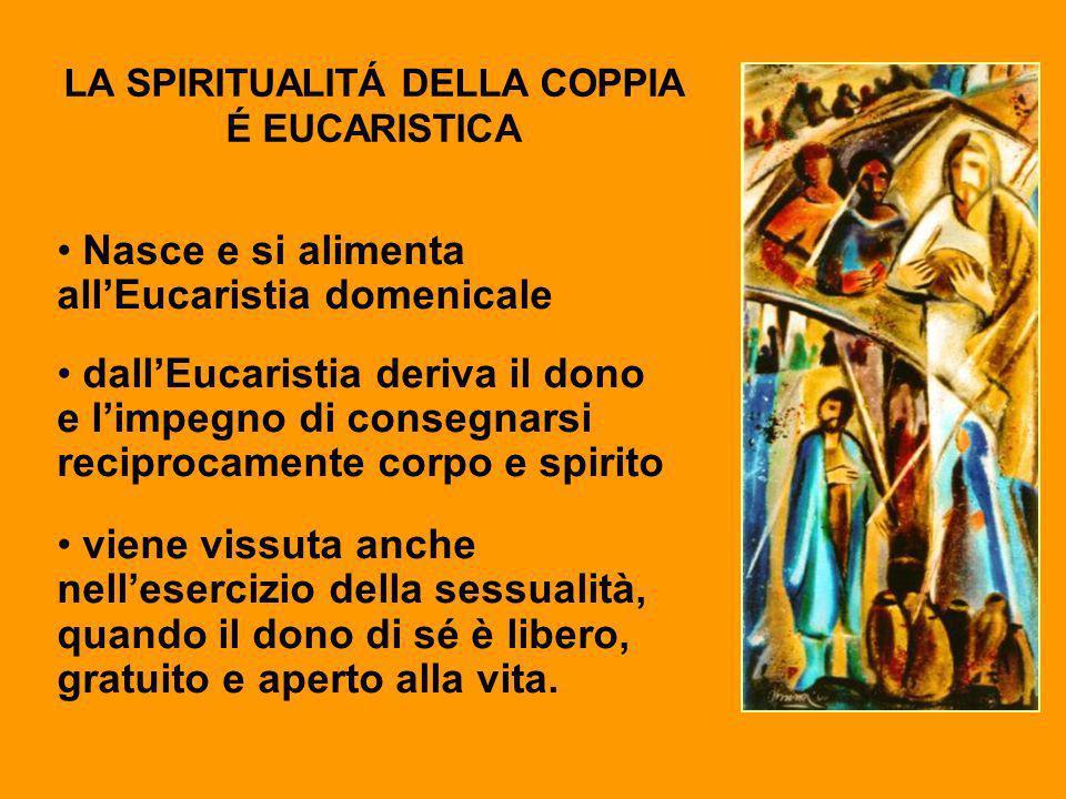 LA SPIRITUALITÁ DELLA COPPIA É EUCARISTICA Nasce e si alimenta allEucaristia domenicale dallEucaristia deriva il dono e limpegno di consegnarsi recipr