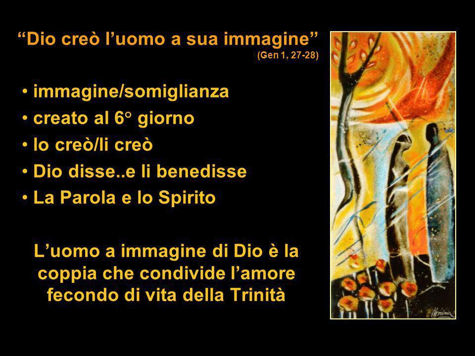 Dio creò luomo a sua immagine (Gen 1, 27-28) immagine/somiglianza creato al 6° giorno lo creò/li creò Dio disse..e li benedisse La Parola e lo Spirito