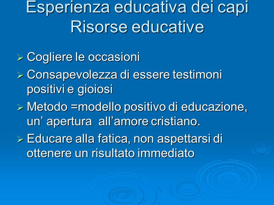 Esperienza educativa dei capi Risorse educative Cogliere le occasioni Cogliere le occasioni Consapevolezza di essere testimoni positivi e gioiosi Cons