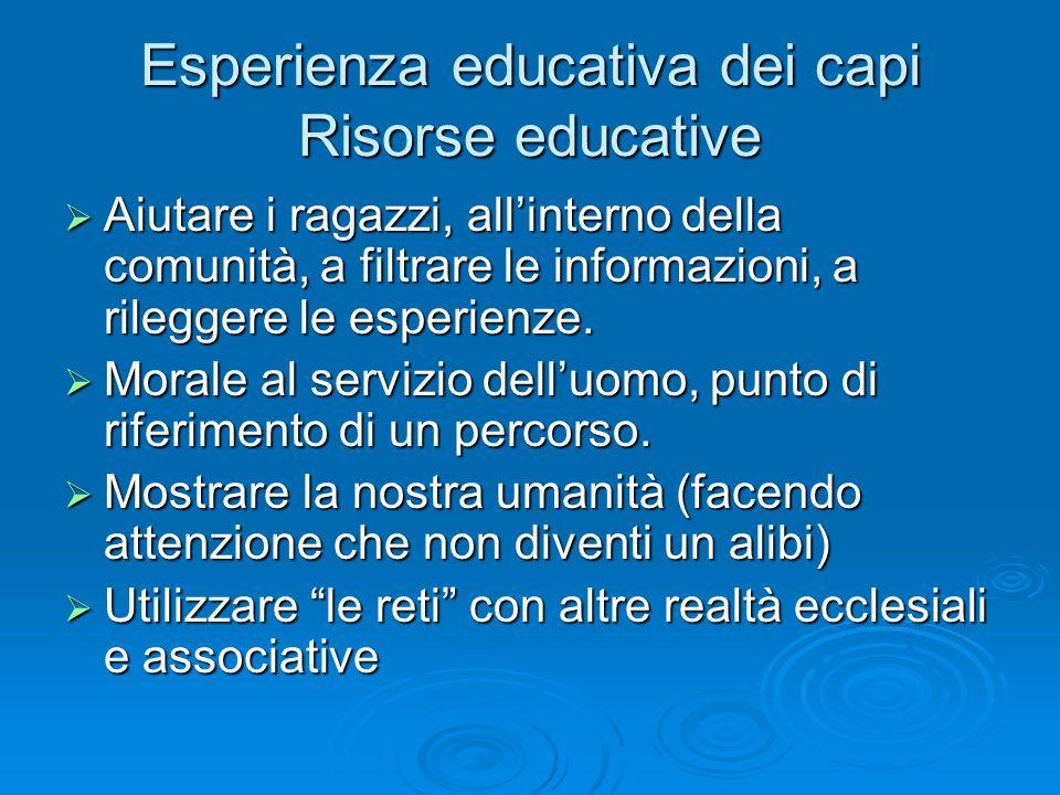 Esperienza educativa dei capi Risorse educative Aiutare i ragazzi, allinterno della comunità, a filtrare le informazioni, a rileggere le esperienze. A