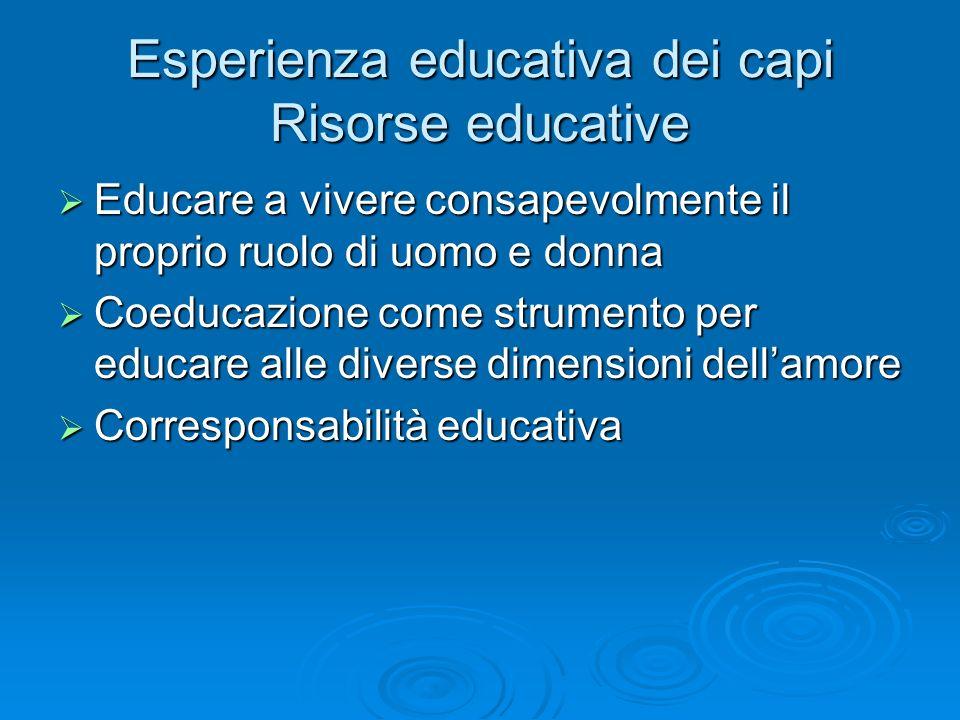 Esperienza educativa dei capi Risorse educative Educare a vivere consapevolmente il proprio ruolo di uomo e donna Educare a vivere consapevolmente il