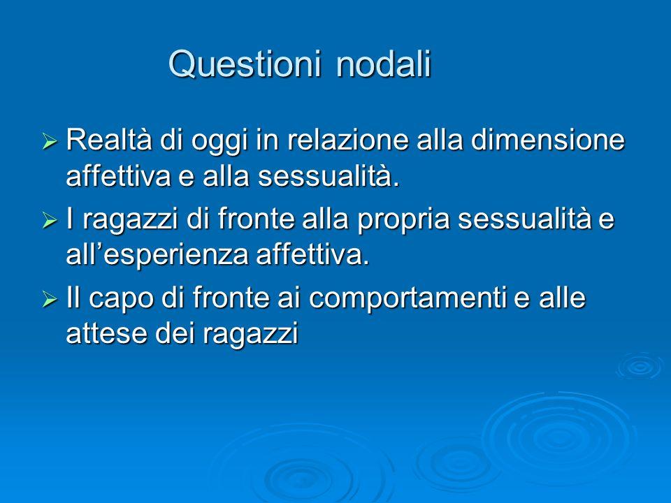 Questioni nodali Realtà di oggi in relazione alla dimensione affettiva e alla sessualità. Realtà di oggi in relazione alla dimensione affettiva e alla