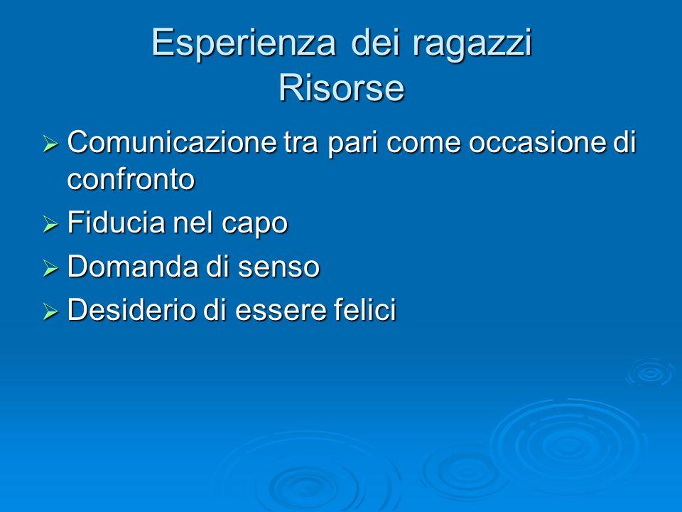 Esperienza dei ragazzi Risorse Comunicazione tra pari come occasione di confronto Comunicazione tra pari come occasione di confronto Fiducia nel capo