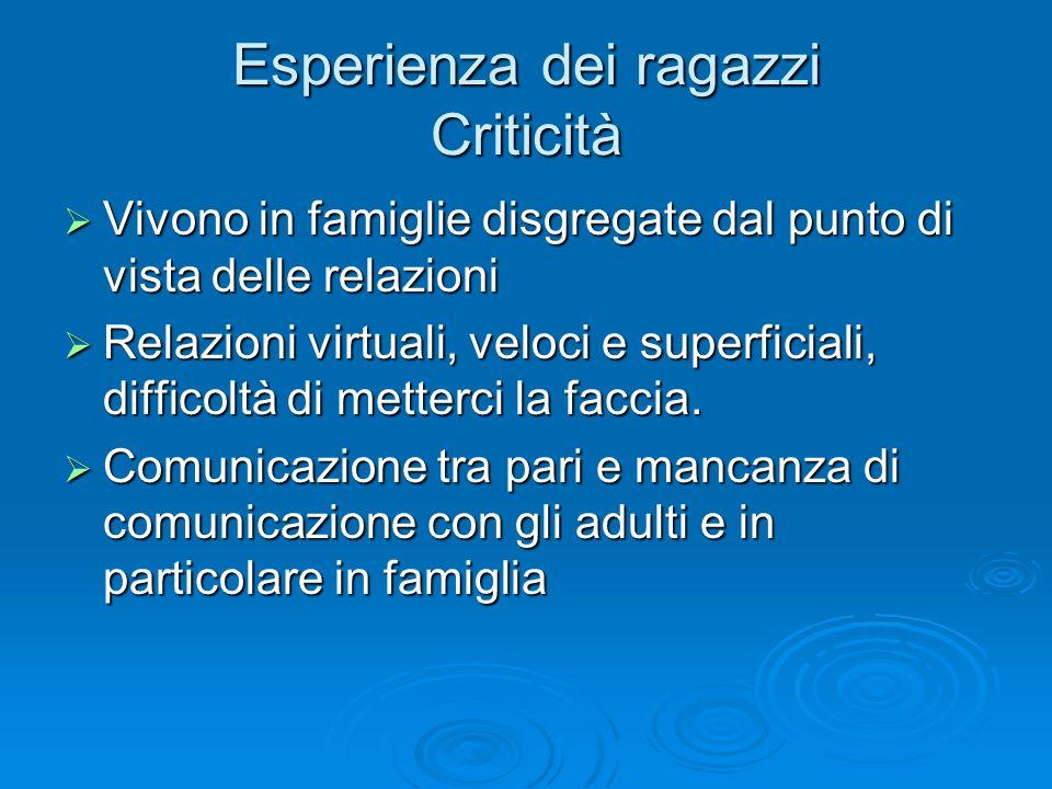 Esperienza dei ragazzi Criticità Vivono in famiglie disgregate dal punto di vista delle relazioni Vivono in famiglie disgregate dal punto di vista del