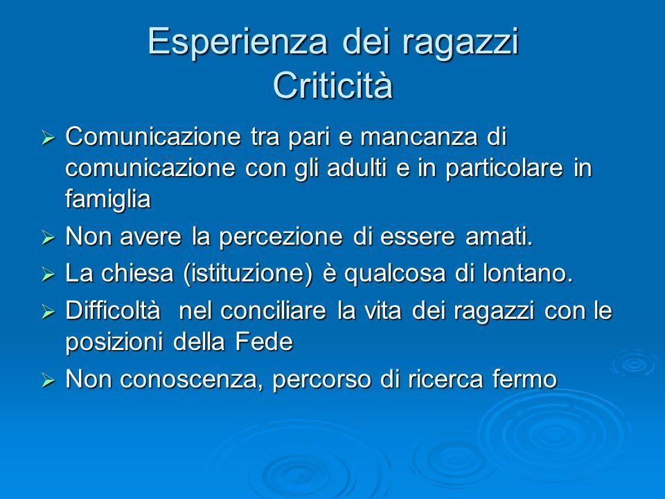 Esperienza dei ragazzi Criticità Comunicazione tra pari e mancanza di comunicazione con gli adulti e in particolare in famiglia Comunicazione tra pari