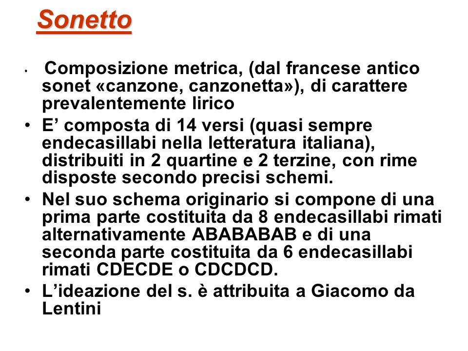 Sonetto Composizione metrica, (dal francese antico sonet «canzone, canzonetta»), di carattere prevalentemente lirico E composta di 14 versi (quasi sem