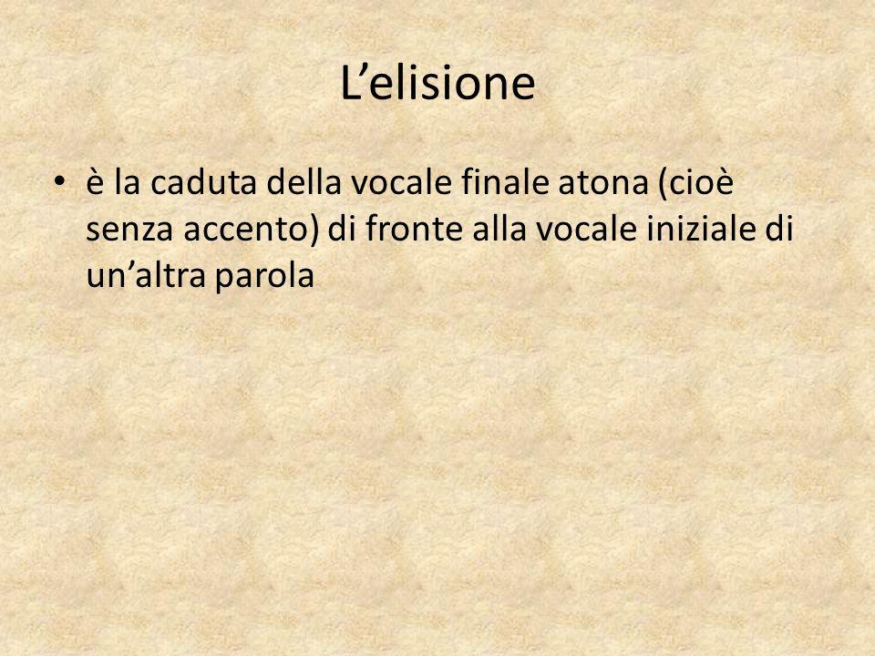 Lelisione è la caduta della vocale finale atona (cioè senza accento) di fronte alla vocale iniziale di unaltra parola
