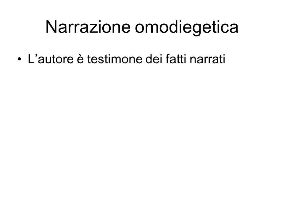 Narrazione omodiegetica Lautore è testimone dei fatti narrati
