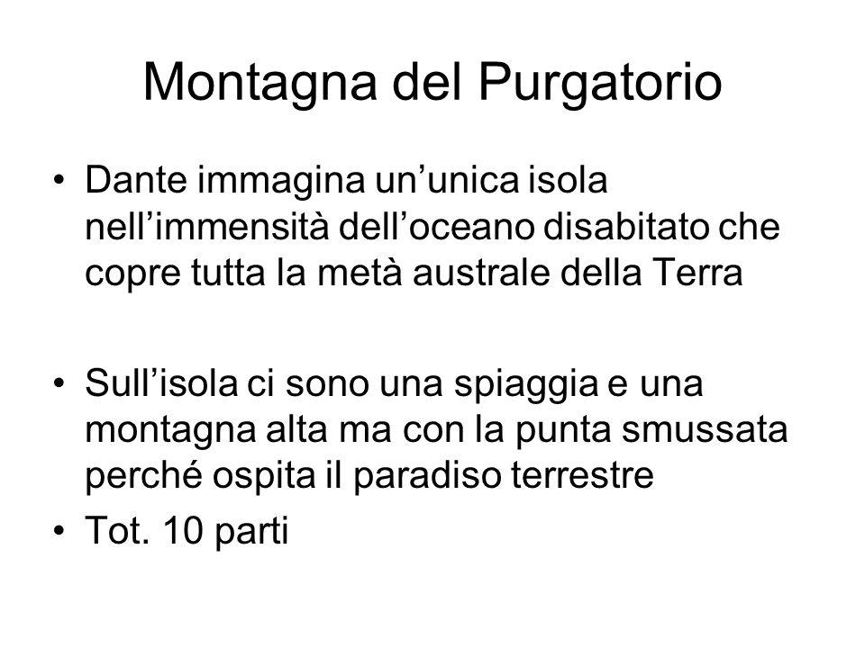 Montagna del Purgatorio Dante immagina ununica isola nellimmensità delloceano disabitato che copre tutta la metà australe della Terra Sullisola ci son