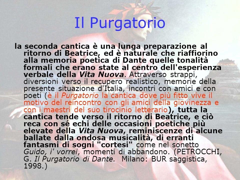 Il Purgatorio la seconda cantica è una lunga preparazione al ritorno di Beatrice, ed è naturale che riaffiorino alla memoria poetica di Dante quelle t