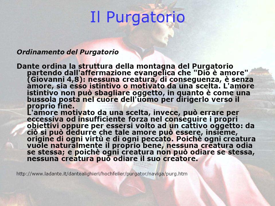 Il Purgatorio Ordinamento del Purgatorio Dante ordina la struttura della montagna del Purgatorio partendo dall'affermazione evangelica che