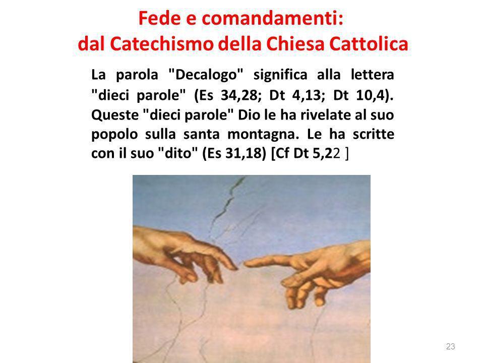 Fede e comandamenti: dal Catechismo della Chiesa Cattolica La parola