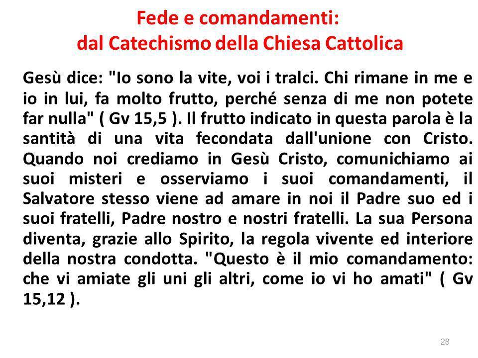 Fede e comandamenti: dal Catechismo della Chiesa Cattolica Gesù dice: