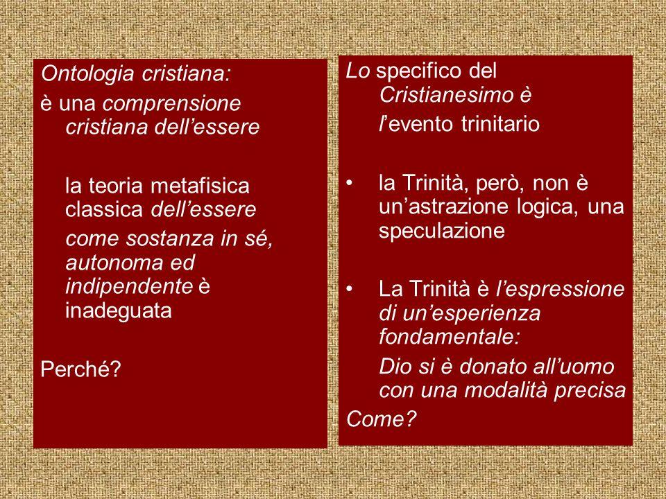 Ontologia cristiana: è una comprensione cristiana dellessere la teoria metafisica classica dellessere come sostanza in sé, autonoma ed indipendente è inadeguata Perché.