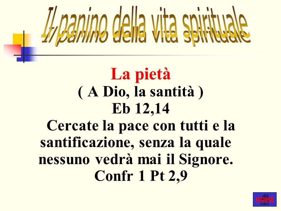 HOME La pietà ( A Dio, la santità ) Eb 12,14 Cercate la pace con tutti e la santificazione, senza la quale nessuno vedrà mai il Signore.