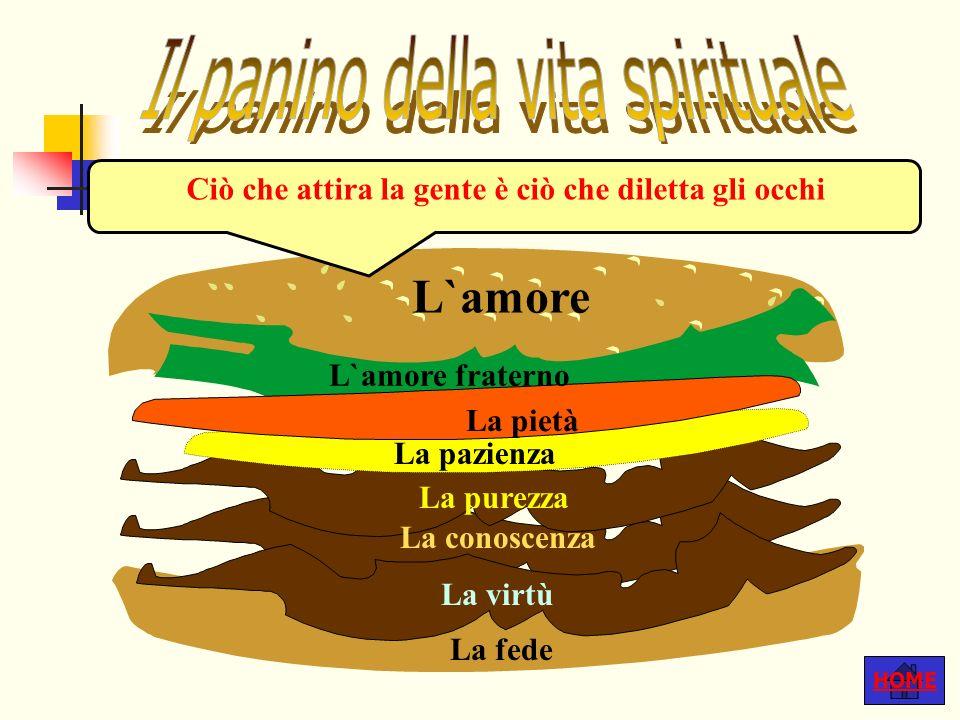 HOME Ciò che attira la gente è ciò che diletta gli occhi L`amore fraterno La pietà La pazienza La purezza La conoscenza La virtù La fede L`amore