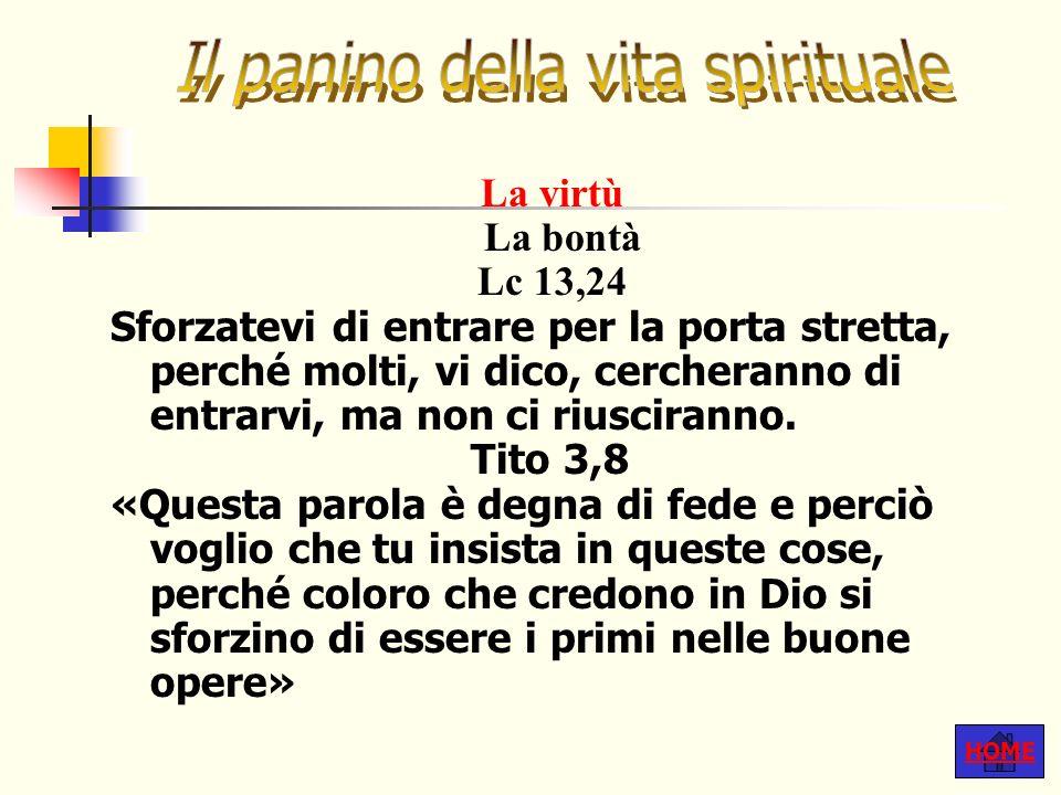 HOME La virtù La bontà Lc 13,24 Sforzatevi di entrare per la porta stretta, perché molti, vi dico, cercheranno di entrarvi, ma non ci riusciranno.