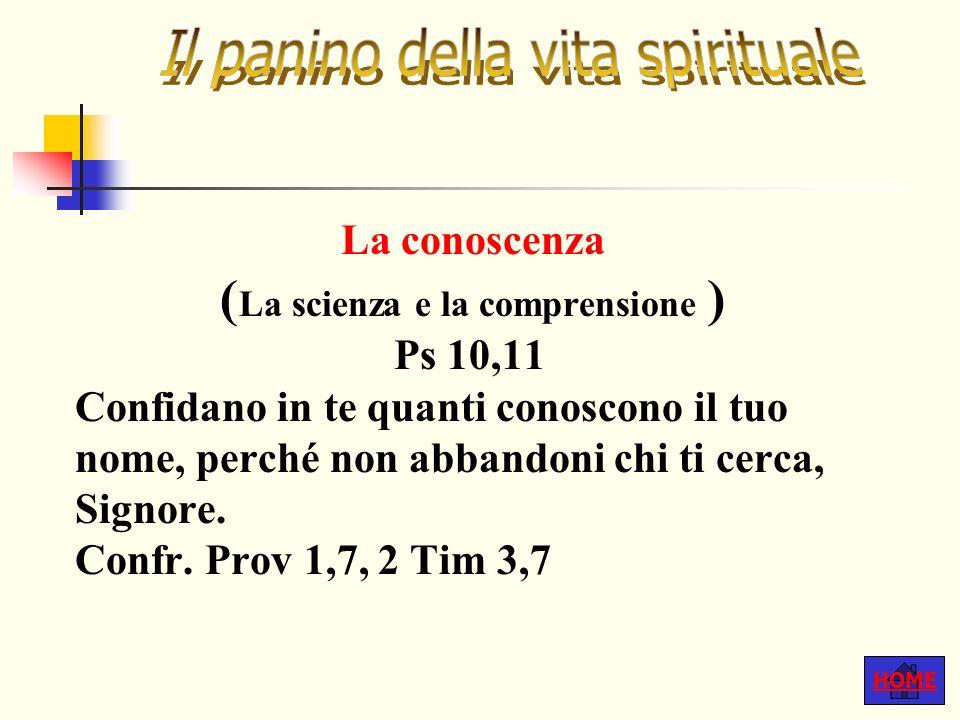 HOME La conoscenza ( La scienza e la comprensione ) Ps 10,11 Confidano in te quanti conoscono il tuo nome, perché non abbandoni chi ti cerca, Signore.