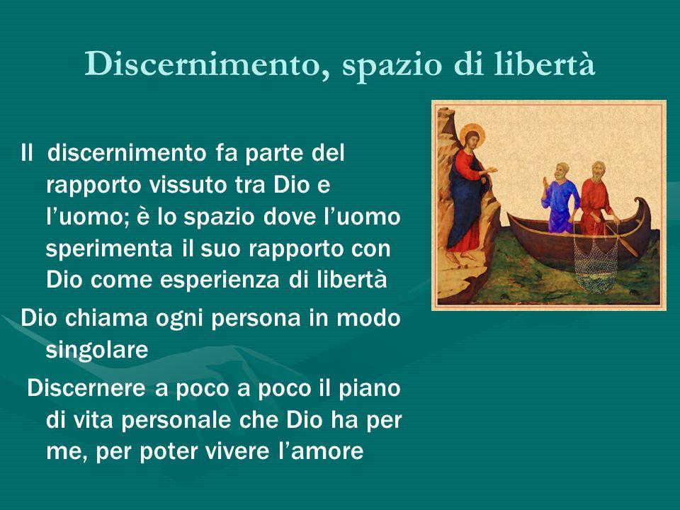 Discernimento, spazio di libertà Il discernimento fa parte del rapporto vissuto tra Dio e luomo; è lo spazio dove luomo sperimenta il suo rapporto con