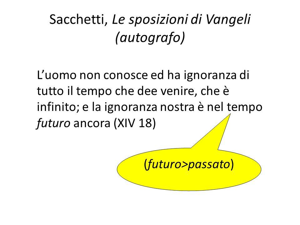 Sacchetti, Le sposizioni di Vangeli (autografo) Luomo non conosce ed ha ignoranza di tutto il tempo che dee venire, che è infinito; e la ignoranza nos