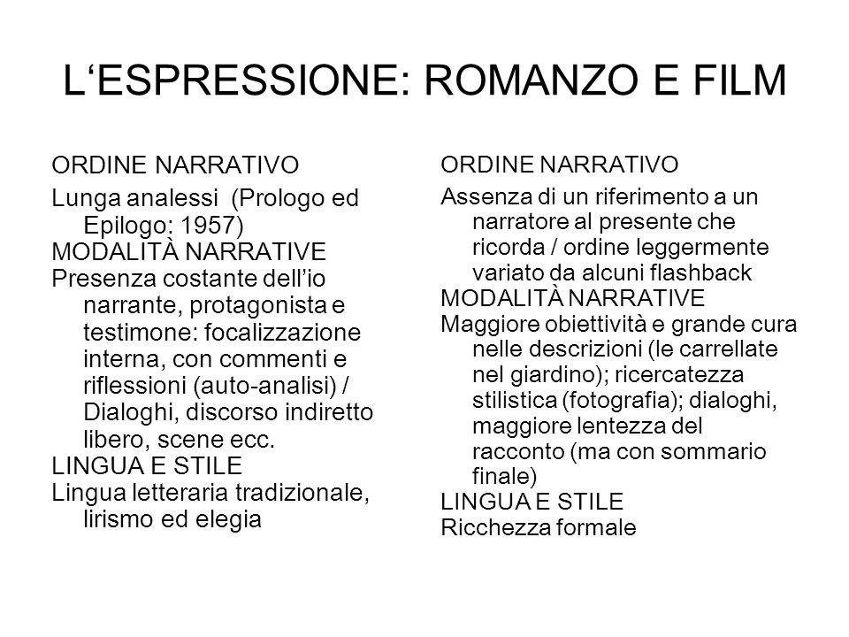 LESPRESSIONE: ROMANZO E FILM ORDINE NARRATIVO Lunga analessi (Prologo ed Epilogo: 1957) MODALITÀ NARRATIVE Presenza costante dellio narrante, protagon