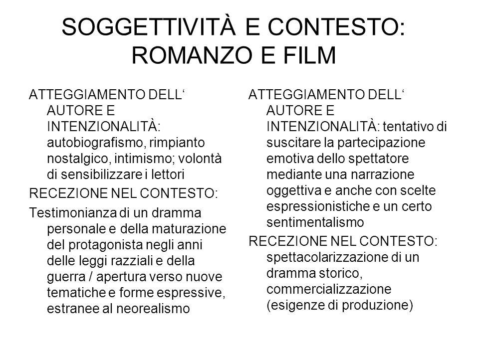 SOGGETTIVITÀ E CONTESTO: ROMANZO E FILM ATTEGGIAMENTO DELL AUTORE E INTENZIONALITÀ: autobiografismo, rimpianto nostalgico, intimismo; volontà di sensi