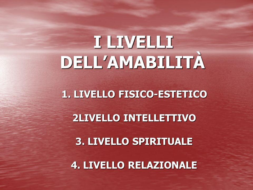 I LIVELLI DELLAMABILITÀ I LIVELLI DELLAMABILITÀ 1. LIVELLO FISICO-ESTETICO 2LIVELLO INTELLETTIVO 3. LIVELLO SPIRITUALE 4. LIVELLO RELAZIONALE