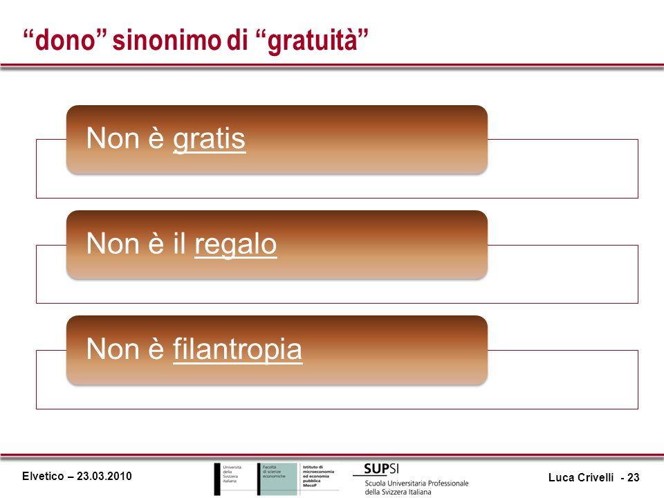 Elvetico – 23.03.2010 dono sinonimo di gratuità Non è gratisNon è il regaloNon è filantropia Luca Crivelli - 23