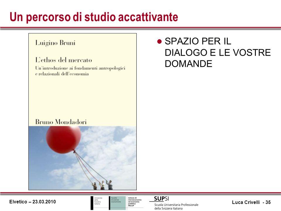 Elvetico – 23.03.2010 Un percorso di studio accattivante l SPAZIO PER IL DIALOGO E LE VOSTRE DOMANDE Luca Crivelli - 35
