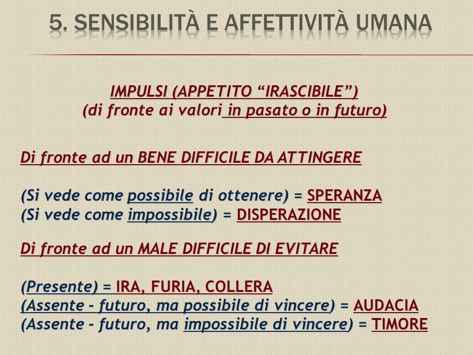 IMPULSI (APPETITO IRASCIBILE) (di fronte ai valori in pasato o in futuro) Di fronte ad un BENE DIFFICILE DA ATTINGERE (Si vede come possibile di ottenere) = SPERANZA (Si vede come impossibile) = DISPERAZIONE Di fronte ad un MALE DIFFICILE DI EVITARE (Presente) = IRA, FURIA, COLLERA (Assente - futuro, ma possibile di vincere) = AUDACIA (Assente - futuro, ma impossibile di vincere) = TIMORE
