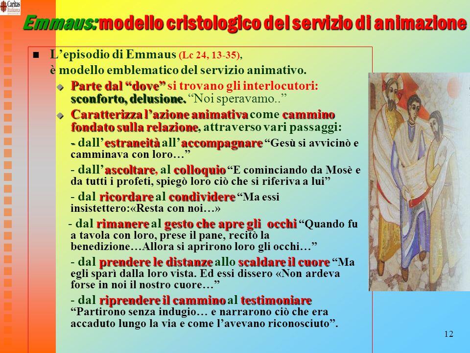 12 Emmaus: modello cristologico del servizio di animazione Lepisodio di Emmaus (Lc 24, 13-35), è modello emblematico del servizio animativo. Parte dal