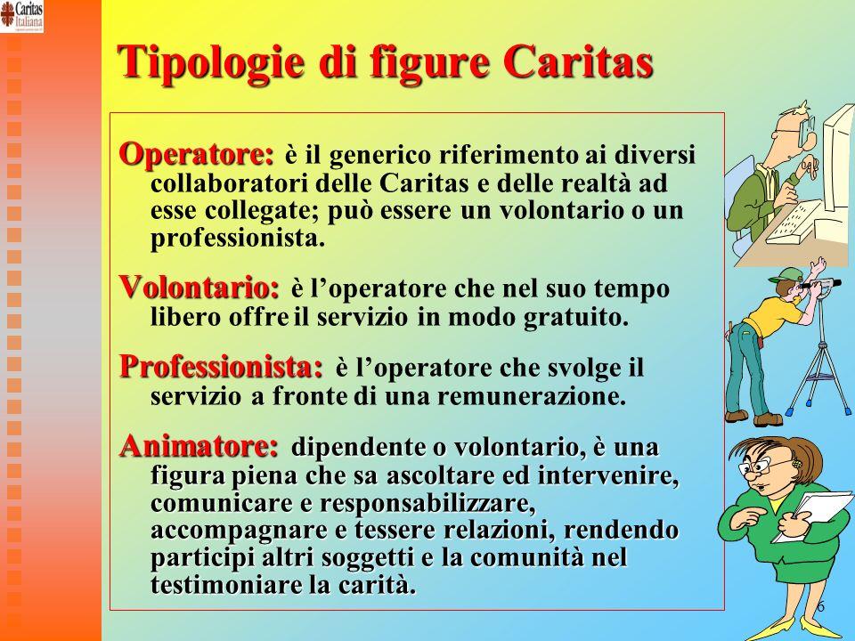 16 Tipologie di figure Caritas Operatore: Operatore: è il generico riferimento ai diversi collaboratori delle Caritas e delle realtà ad esse collegate