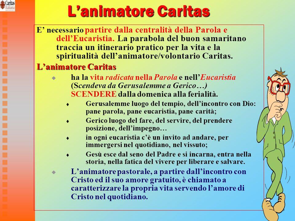 18 Lanimatore Caritas Lanimatore Caritas E necessario partire dalla centralità della Parola e dellEucaristia. La parabola del buon samaritano traccia
