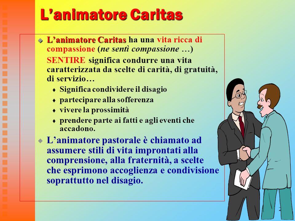 20 Lanimatore Caritas Lanimatore Caritas Lanimatore Caritas ha una vita ricca di compassione (ne sentì compassione …) SENTIRE significa condurre una v