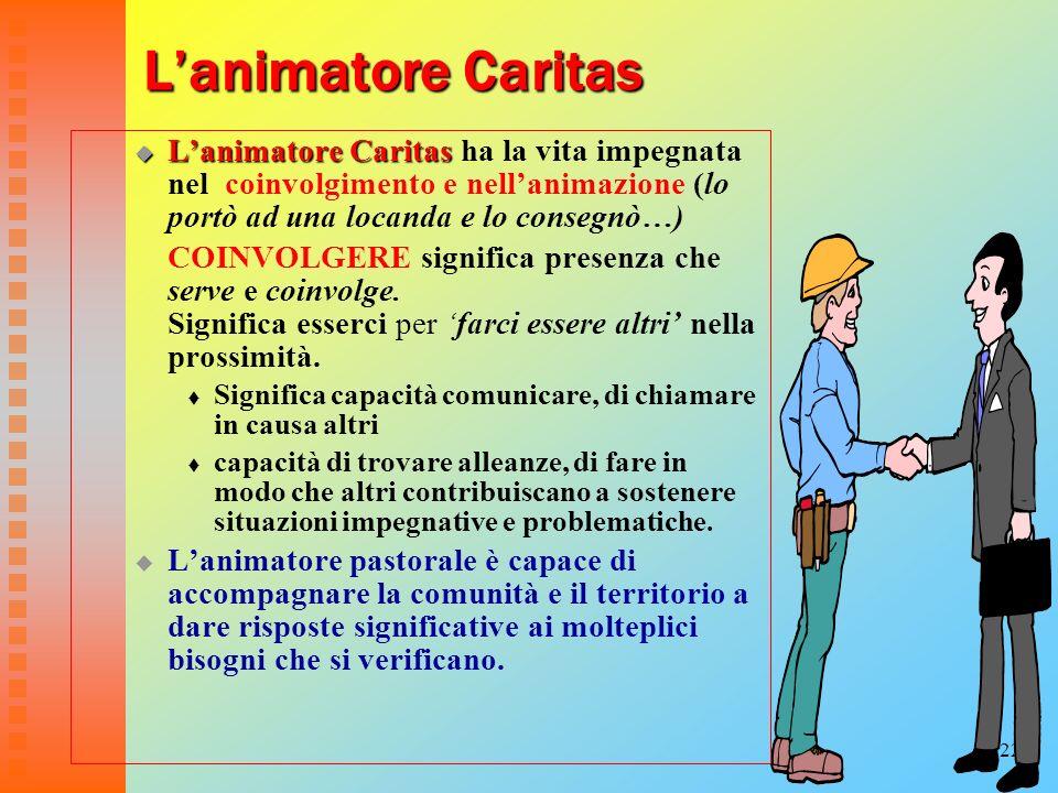 22 Lanimatore Caritas Lanimatore Caritas Lanimatore Caritas ha la vita impegnata nel coinvolgimento e nellanimazione (lo portò ad una locanda e lo con