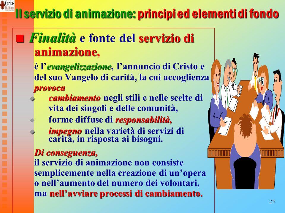 25 Il servizio di animazione: principi ed elementi di fondo Finalità servizio di animazione Finalità e fonte del servizio di animazione, evangelizzazi