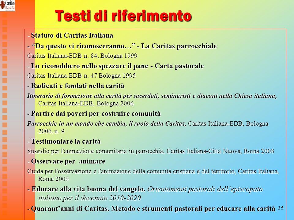 35 Testi di riferimento - Statuto di Caritas Italiana - Da questo vi riconosceranno… - La Caritas parrocchiale Caritas Italiana-EDB n. 84, Bologna 199