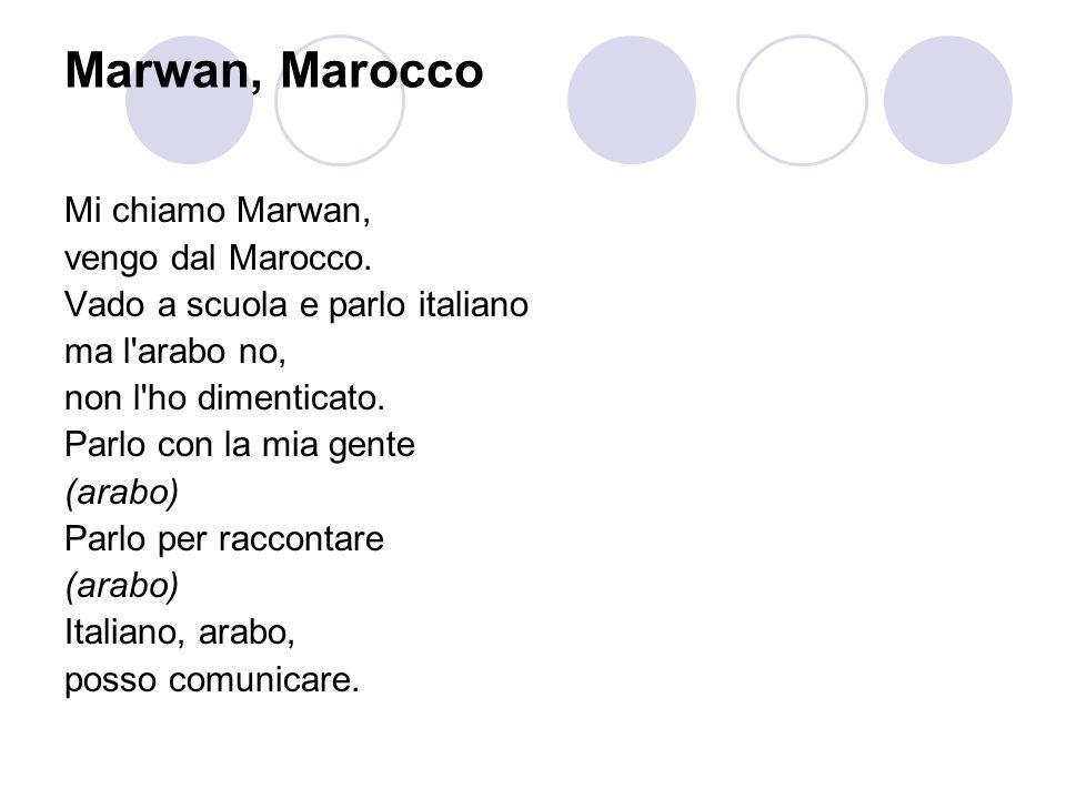 Marwan, Marocco Mi chiamo Marwan, vengo dal Marocco. Vado a scuola e parlo italiano ma l'arabo no, non l'ho dimenticato. Parlo con la mia gente (arabo