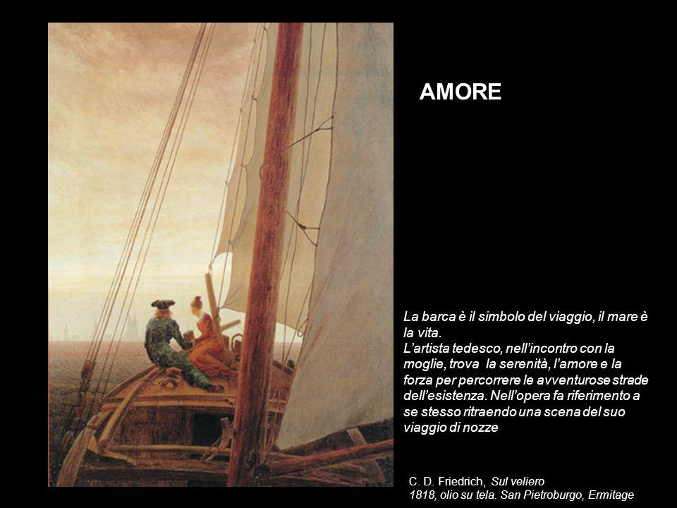 C. D. Friedrich, Sul veliero 1818, olio su tela. San Pietroburgo, Ermitage AMORE La barca è il simbolo del viaggio, il mare è la vita. Lartista tedesc
