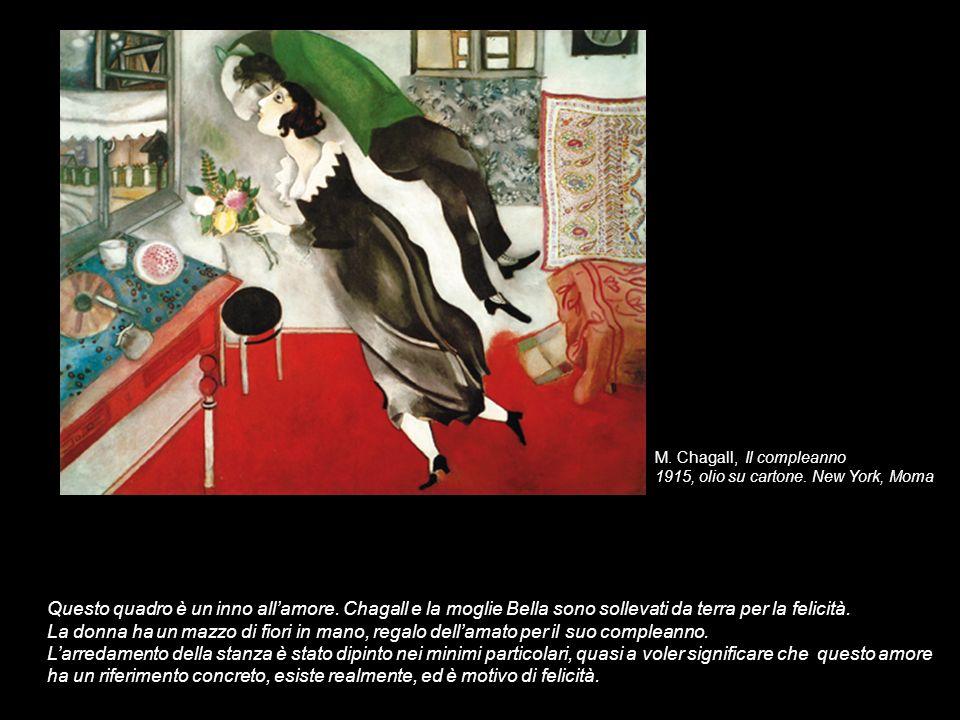 M. Chagall, Il compleanno 1915, olio su cartone. New York, Moma Questo quadro è un inno allamore. Chagall e la moglie Bella sono sollevati da terra pe