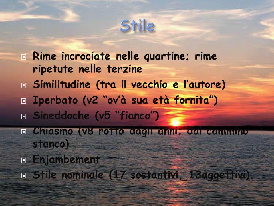 Uso di latinismi et (vv 1, 3, 8, 9), trahendo (v5), estreme (v6) Struttura sintattica in ipotassi. Questo sonetto è l'ennesima dichiarazione di sconte