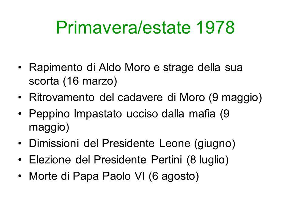 Primavera/estate 1978 Rapimento di Aldo Moro e strage della sua scorta (16 marzo) Ritrovamento del cadavere di Moro (9 maggio) Peppino Impastato ucciso dalla mafia (9 maggio) Dimissioni del Presidente Leone (giugno) Elezione del Presidente Pertini (8 luglio) Morte di Papa Paolo VI (6 agosto)