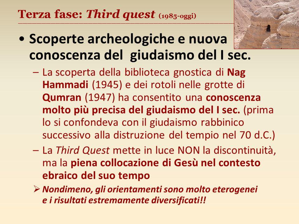 Terza fase: Third quest (1985-oggi) ________________________________________________________ Scoperte archeologiche e nuova conoscenza del giudaismo del I sec.