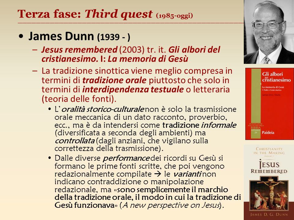 Terza fase: Third quest (1985-oggi) ________________________________________________________ James Dunn (1939 - ) –Jesus remembered (2003) tr.