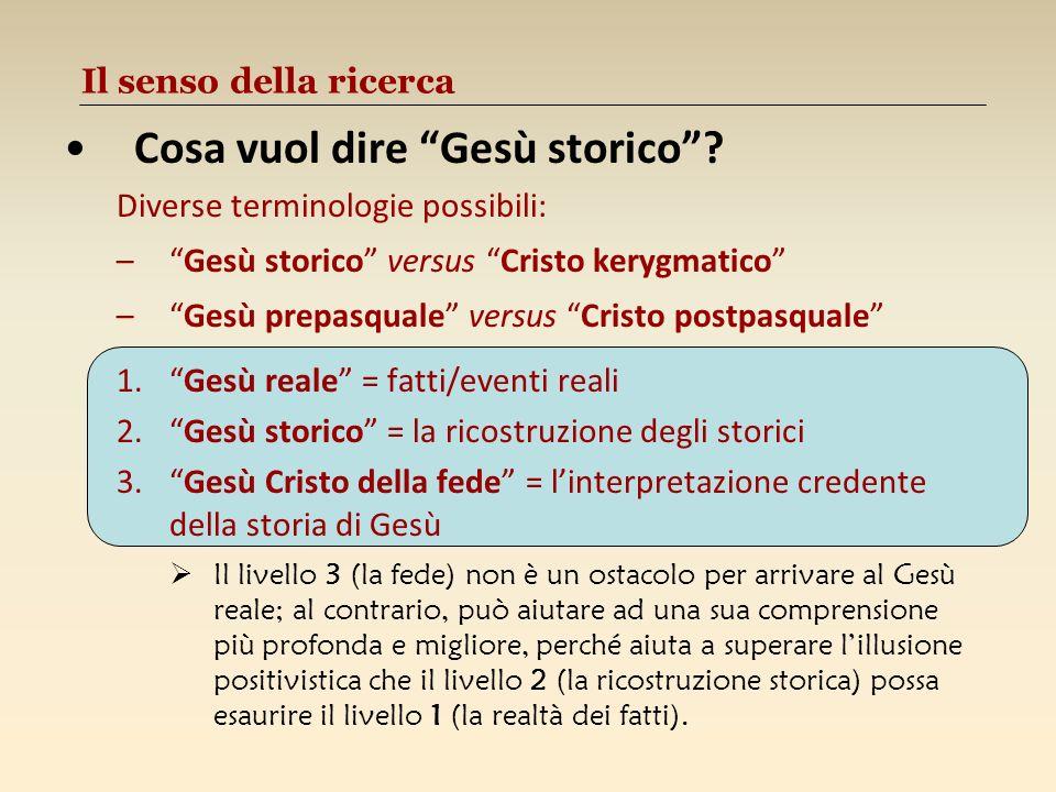 Il senso della ricerca Cosa vuol dire Gesù storico? Diverse terminologie possibili: –Gesù storico versus Cristo kerygmatico –Gesù prepasquale versus C