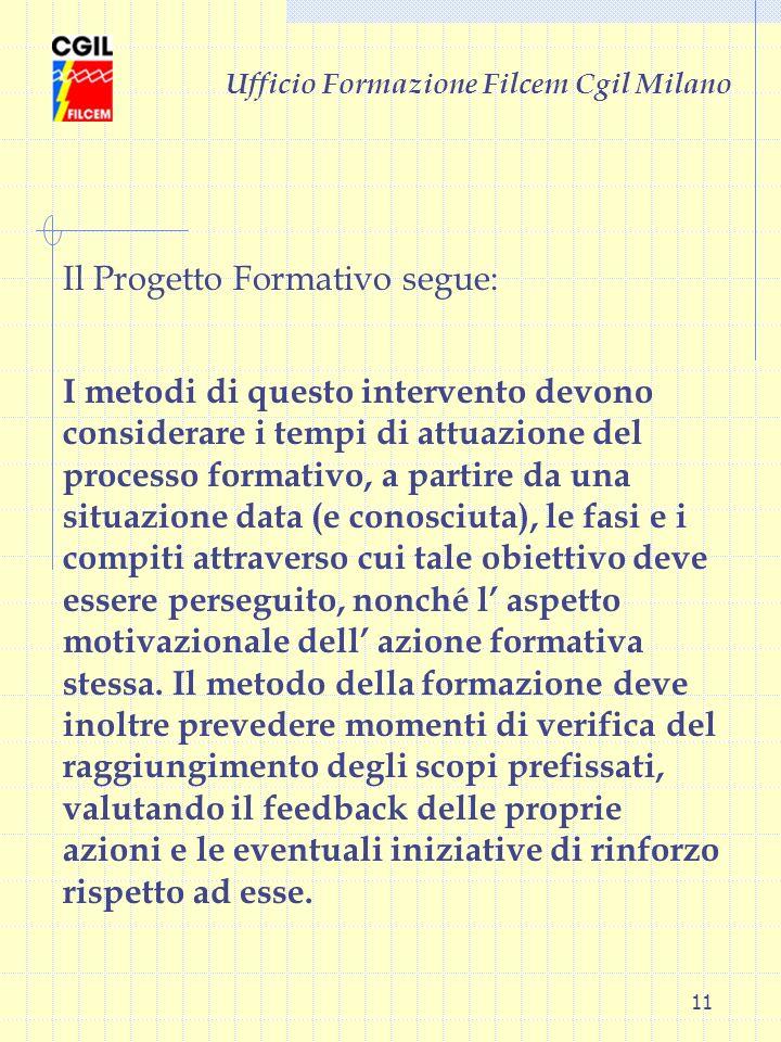 11 Ufficio Formazione Filcem Cgil Milano I metodi di questo intervento devono considerare i tempi di attuazione del processo formativo, a partire da u