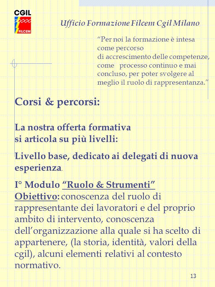 13 Ufficio Formazione Filcem Cgil Milano Corsi & percorsi: La nostra offerta formativa si articola su più livelli: Livello base, dedicato ai delegati