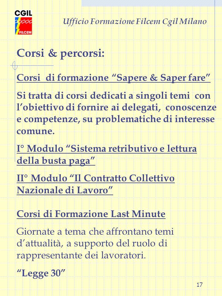 17 Ufficio Formazione Filcem Cgil Milano Corsi & percorsi: Corsi di formazione Sapere & Saper fare Si tratta di corsi dedicati a singoli temi con lobi