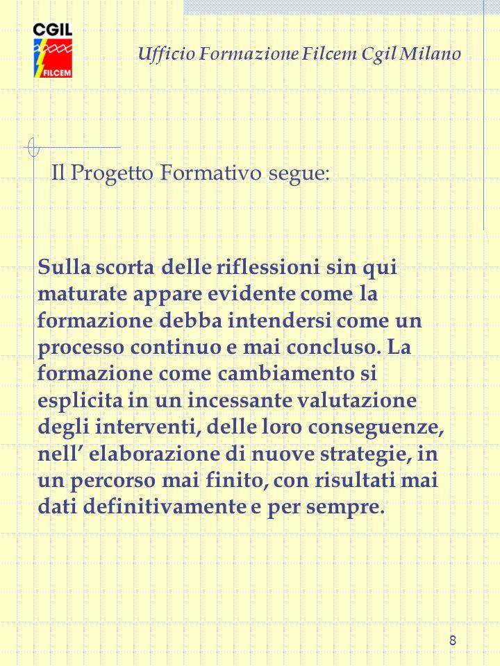 8 Ufficio Formazione Filcem Cgil Milano Sulla scorta delle riflessioni sin qui maturate appare evidente come la formazione debba intendersi come un pr